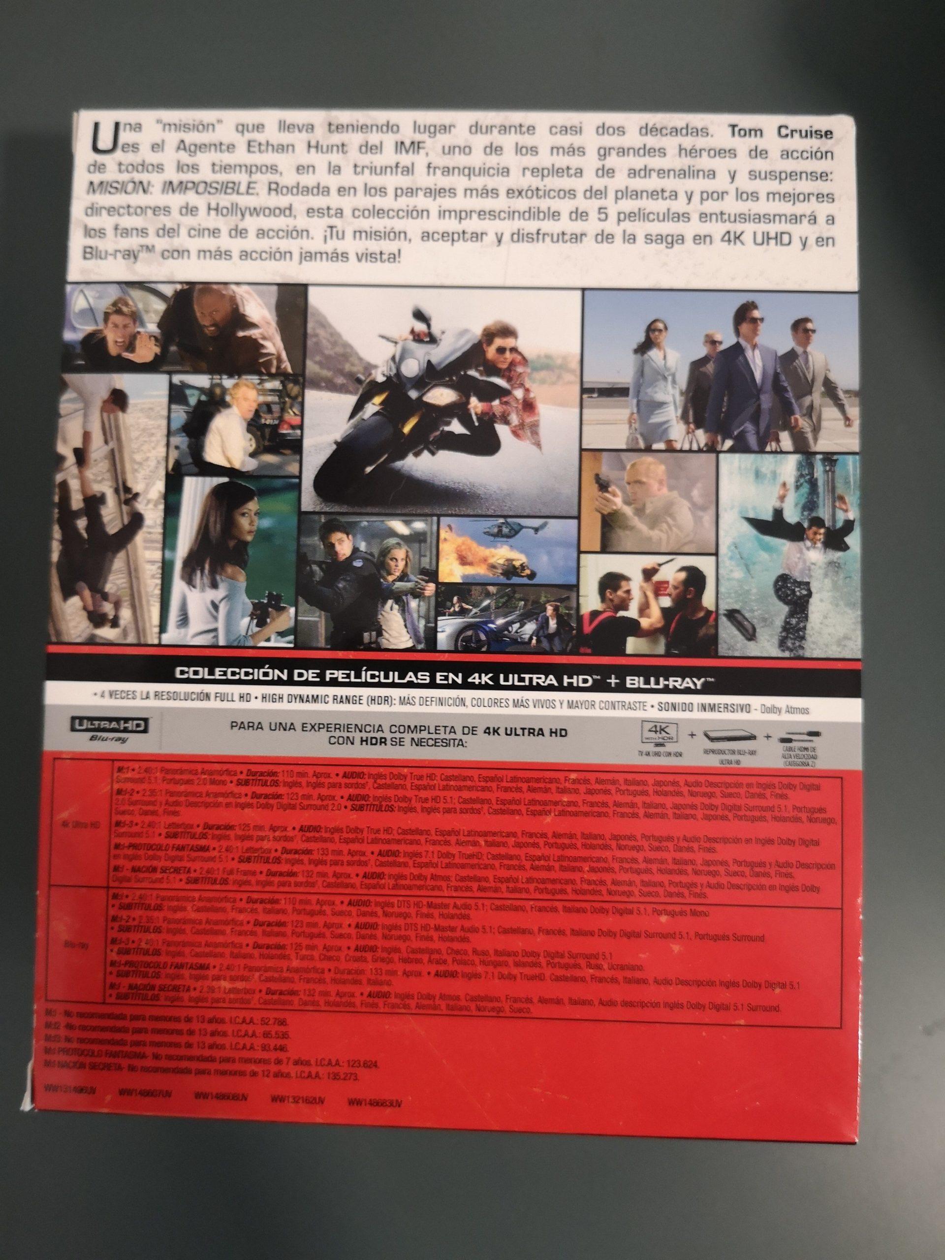 Misión Imposible colección 5 películas contraportada