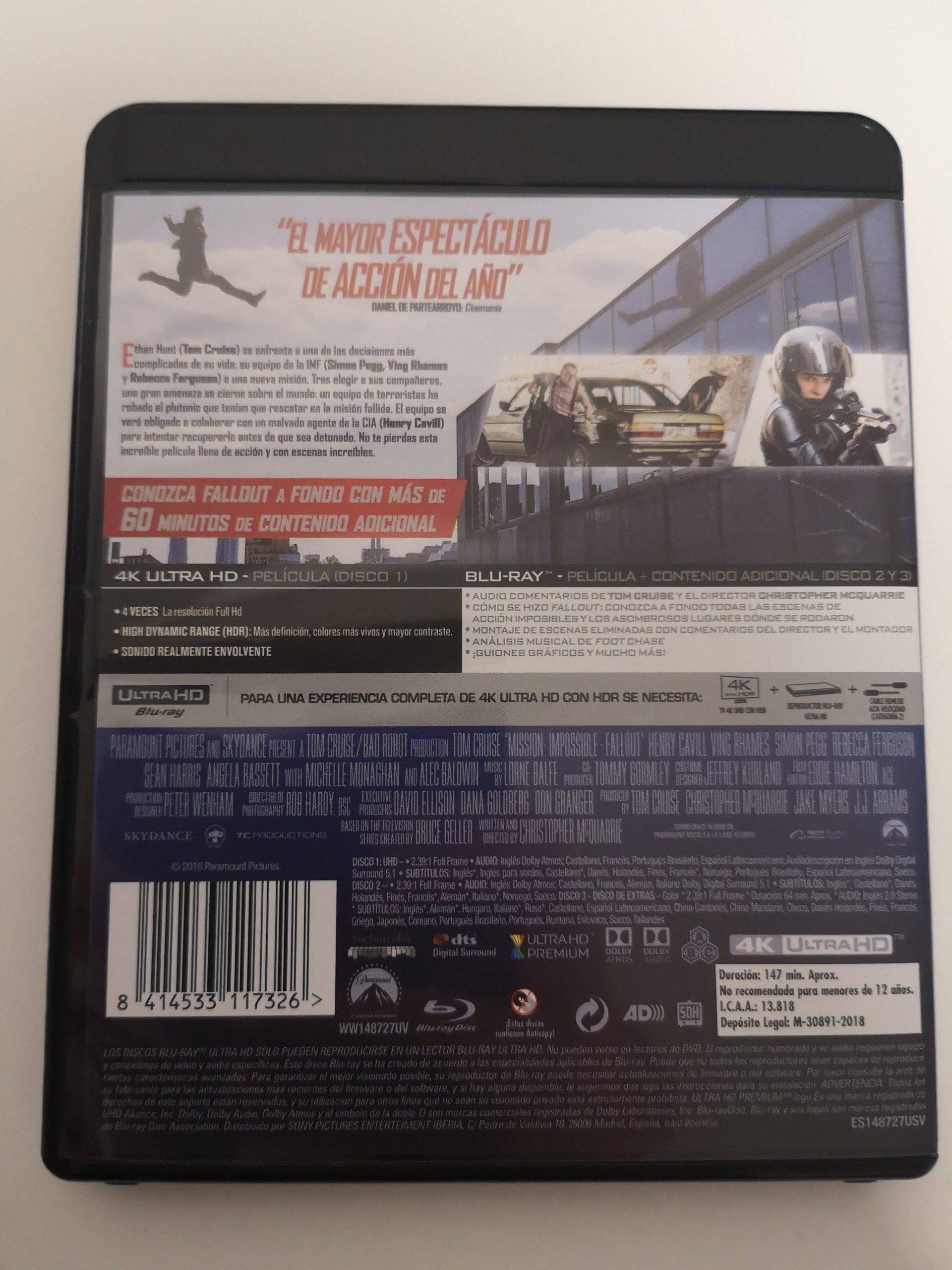 """""""Misión Imposible: Fallout"""" [Blu-ray] [4K UHD] contraportada"""