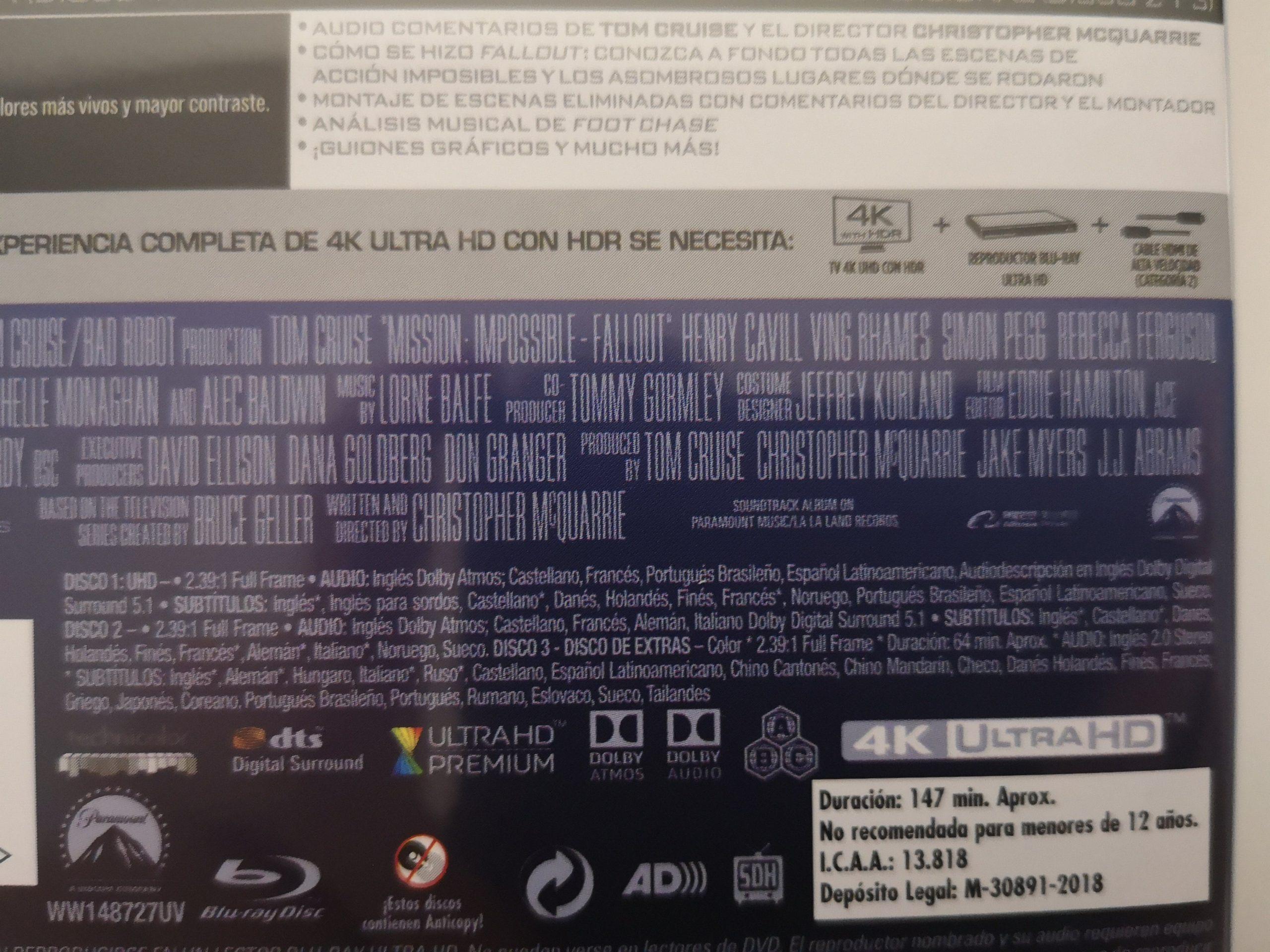 """""""Misión Imposible: Fallout"""" [Blu-ray] [4K UHD] contraportada 03"""
